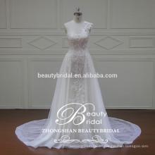 Einzigartige applizierte Spitze ein Schulter Brautkleid, bodenlangen a-line Hochzeitskleid