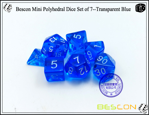 Bescon Mini Polyhedral Dice Set of 7--Transparent Blue-6