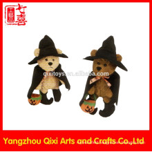 Halloween stuffed toy plush teddy bear witch with witch hat and pumpkin light
