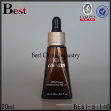 20ml ambre unique triangle en forme de verre bouteille de compte-gouttes d'huile essentielle