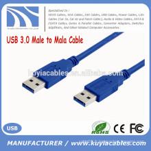 Factory Sell Super Speed bleu Câble USB 3.0 mâle à mâle 0.35M 0.5M 1M 1.5M 2M