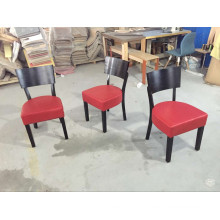 American Cafe Project Tomato Red Leather Padded Wood Chairs