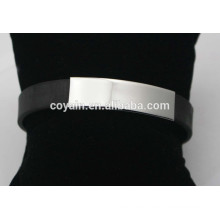 Wholesale 316L stainless steel Black Silicon ID bracelets