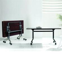 Складной квадратный деревянный стол с колесами и стальными ногами (СП-FT406)