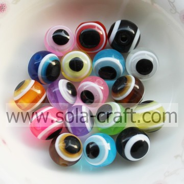 10/12MM Factory Wholesale Round Evil Eye Resin Beads