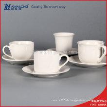 Ganze billige weiße Keramik-Kaffeetasse nach Maß Porzellan-Tee Cup und Sausers
