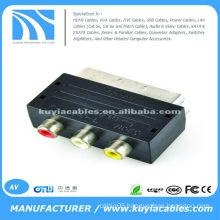 RGB Scart Male to 3 RCA AV Female Phono AV Adaptor for Xbox 360 PS3 TV DVD