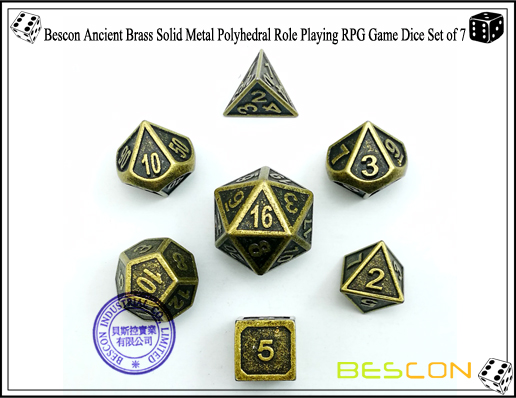 Bescon New Style Ancient Brass Solid Metal Polyhedral Role Playing RPG Game Dice Set (7 Die in Pack)-2