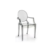 Design clear transparent plastic arms chair