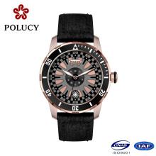 Горячие Продажа натуральной кожи розовое золото часы для мужчин