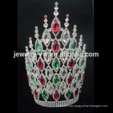 Correa de cuero de la corona de la princesa del rhinestone de la muchacha Coronas y tiaras altas del desfile de la venta al por mayor