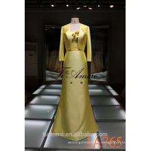 1A765 vestido formal amarillo brillante del piso de la longitud del piso del satén 2016 nuevo diseño