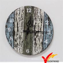 Shabby Chic Vintage Colorful Retro Charm Quartz Horloge murale en bois pour décoration intérieure