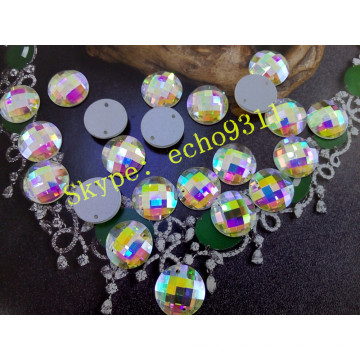16mm Round Ab Stones with Two Holes for Garment Accessories