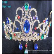 Las coronas grandes del desfile de la manera al por mayor modificaron la tiara para requisitos particulares del rhinestone del azul de las coronas