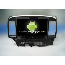 Fábrica directamente! 10.1 pulgadas de contacto completo con 1024 * 600. android 4.4 reproductor de DVD del coche para lancer + OEM + Qual core!