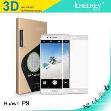 De alta calidad 0.33mm 3D ultra delgado teléfono móvil 9H vidrio templado para huawei P9 más protector de pantalla de vidrio templado