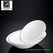 Hotel oceano linha moda elegância porcelana branca sopa oval tigela PT-T0592