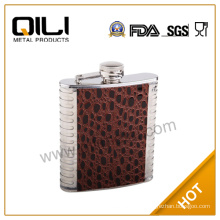 Embossing on leather hip flask vacuum flask Leather flask