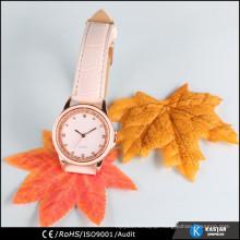 good quality fashion diamond watch ladies , PU leather belt watch