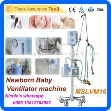 MSLVM16i Nouveau technique et facile à transporter chariot d'hôpital nouveau-né bébé CPAP ventilateur machine / appareil respiratoire