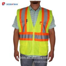 Стандарт ANSI/маки Привет ВИС спецодежды куртка высокая видимость 100% сетки полиэфира сверхмощного жилет безопасности с светоотражающие ленты карманы
