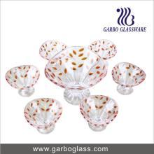 7PCS Glas-Eiscreme-Schüssel mit Farben-Blatt (TZ7-GB16013-P1)