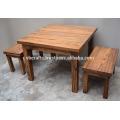 Solid Wooden Outdoor Dining Table set Reclaimed Railway Sleeper