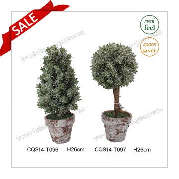 H26cm Artificial Tree, Plastic Artificial Areca Palm Tree Potted Plants