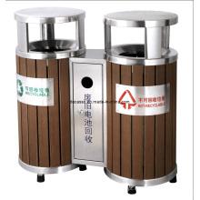 Lixeira de reciclagem de madeira ao ar livre Eco-Friendly (DL39)