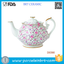 Tetera de cerámica vintage formal rosa confeti blanca
