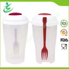 Оптовый пластиковый салатный кубок с вилкой и перевязочными контейнерами