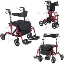 2 in 1 Folding Rollator Walkers for Elderly