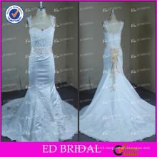 ED White Mermaid Satin Lace Appliques Beaded Cap Sleeve Flower Belt Wedding Dresses
