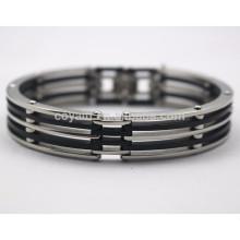 Bulk Supply Cheap Stainless Steel Silicon Bracelets For Men