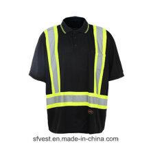 T-shirt réfléchissant de sécurité de haute qualité avec couleur noire