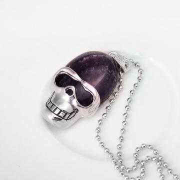 Natural Amethyst Skull Gemstone Pendant Necklace with Silver chain