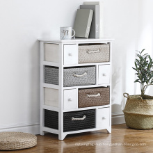 European White Wooden Storage Cabinets With Straw Woven Baskets