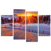 Winter Landscape Canvas Printing/Mountain Sunrise Canvas Art/4 Panel Wall Art