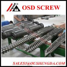 Twin conical screw barrel design for PVC pipe machine