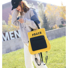 foldable Embroidery logo Black Letters Large Capacity canvas Shoulder Strap Crossbody Bag causal tote bag lady's backpack