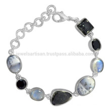 Dendritic Opal Rainbow Moonstone Black Onyx Rutileted & 925 Sterling Silver Bracelet
