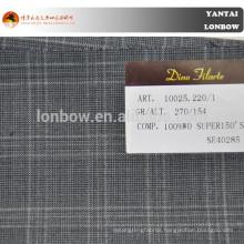 Window pane plaid 100%merino wool woven suit fabric stock