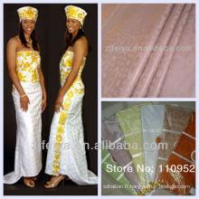 Tissu de vêtement africain en coton Brocart de Guinée Textiles nigérians Bazin Riche Jacquard Damas Shadda Soft Handfeeling