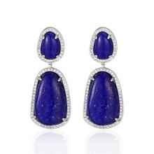 Vintage Style Lapis Lazuli Stone Dangle Drop Earrings