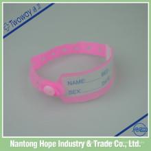 fita descartável cor-de-rosa da identificação do bebê da fita da identificação do hospital