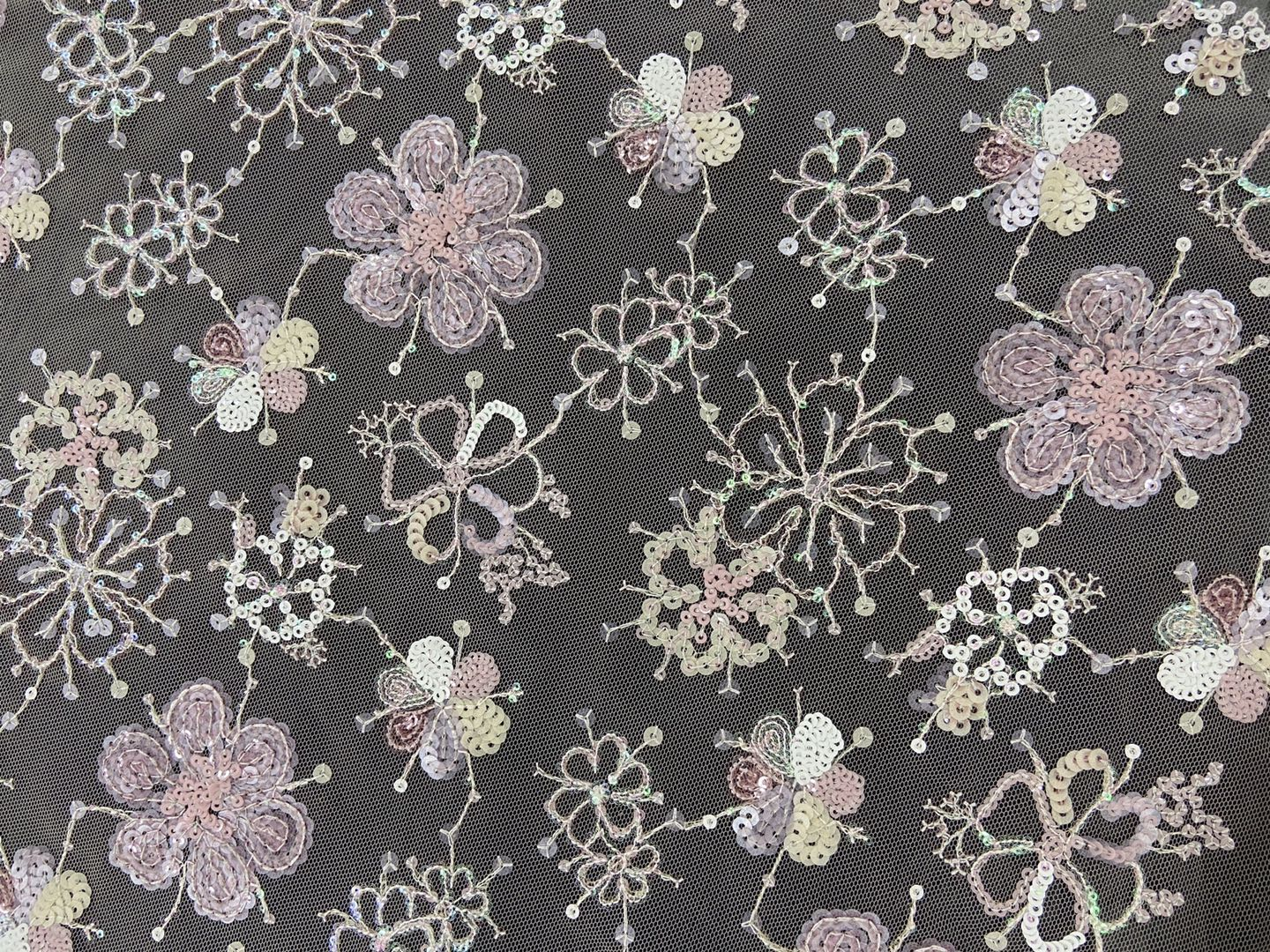Blossoms Sequin Embroidery Fabric