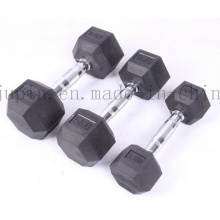 Custom Crossfit Fitness Rubber Iron Sexangle Dumbbell for Body Building