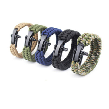 Gelang Shackle Paracord Stainless Steel berbentuk U