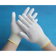 13 gauge nylon knitted gloves coated with PU on top fingers